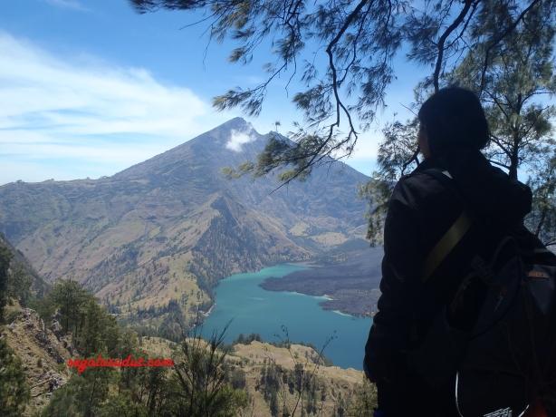 Memandangi Gunung Rinjani dari jalur mendaki dari Segara Anak ke Plawangan Senaru.